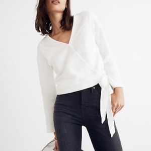 NWT Madewell | texture and thread white wrap top
